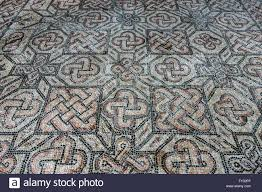 early christian mosaic floor with ornaments 4th century exposed