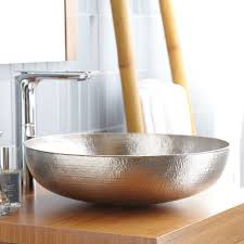 hammered nickel bathroom sink maestro sonata copper vessel sink native trails