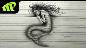 3d paper illusion sleeping mermaid drawing trick art youtube