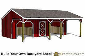 backyard horse barns run in shed with tack room and breezeway