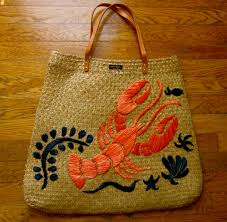 kate spade cape cod lobster reyna embroidered woven sea grass