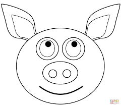 cartoon pig head coloring page free printable coloring pages