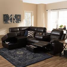 Contemporary Sectional With Chaise Baxton Studio Roland Modern And Contemporary Dark Brown Faux