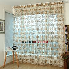 classic plaid pattern in gold color luxury sheer curtains buy