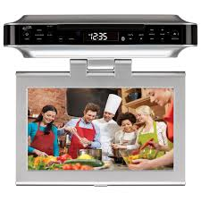 under kitchen cabinet cd player ilive 10 in lcd bluetooth under cabinet system with tv dvd and