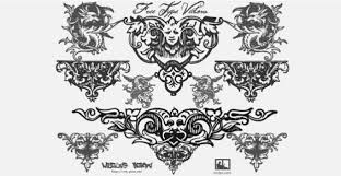 baroque ornament set with black and white free