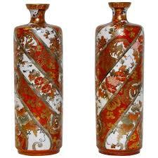 Japanese Kutani Vases Pair Of Elegant Japanese Kutani Vases Pot In Red Black Yellow