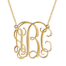 gold plated monogram necklace name necklace official large monogram necklace 14k gold plated
