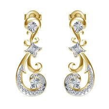 beautiful ear rings buy genuine diamond 18kt gold plated 925 silver beautiful fancy