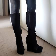 womens boots betts betts suede knee high black wedge boots 7 mega platform s