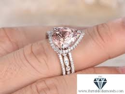 10x12mm pear shape morganite engagement ring set art deco half