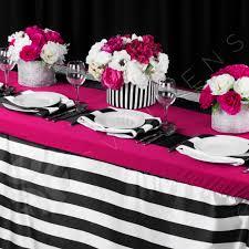 fuschia pink table cloth stripe satin 90x132 tablecloth black white cv linens