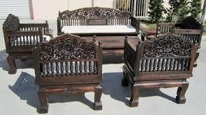 Wooden Furnitures Sofa Thai Hand Carved Furniture Set