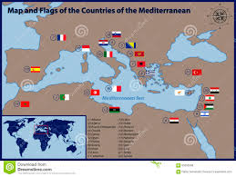 Map Mediterranean Map And Flags Of The Countries Of The Mediterranean Stock Vector