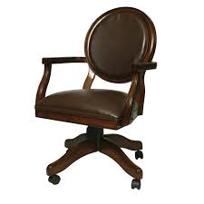 tiny brown leather chair with wooden arms on wheels and round