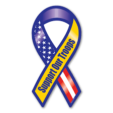 blue and yellow ribbon support our troops blue yellow ribbon magnet magnet america