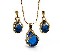 pandantiv cristal set bijuterii placate cu aur format din lantisor cu pandantiv si