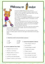 english worksheet london my hometown comprehension passages