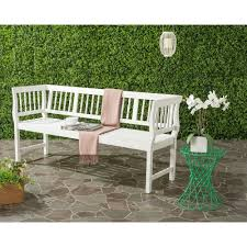 safavieh brentwood outdoor acacia patio bench in white pat6732c