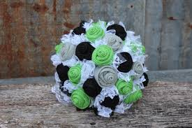country wedding bouquets lime green black and gray burlap and lace wedding bouquets