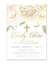 confirmation invitation everly boy girl or s confirmation invitation white roses