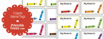 printable name tags printable crayon name tags printable treats