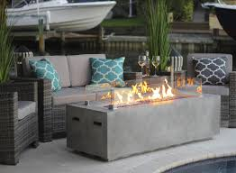 Gas Firepit Table 60 Rectangular Modern Concrete Gas Pit Table In Gray