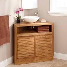 teak corner bathroom vanity with vessel sink space saver corner