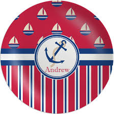 personalized melamine platter sail boats stripes melamine plate personalized baby n toddler