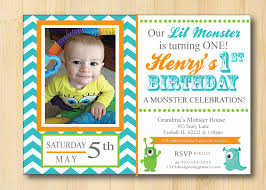 little monster 1st birthday invitations chevron set of 25 with