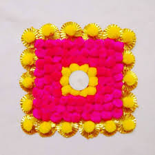 diwali home decorations diwali home decor handcrafted gota pompom mat set of 1 yellow