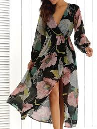 maxi dresses with sleeves surplice summer floral maxi dress with slit in floral xl