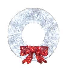 shop living 3 ft plastic white led wreath at