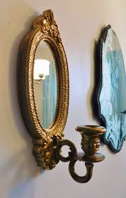 home interior wall sconces vintage home interiors gold oval mirrored wall by radiogirlcarolyn