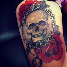 skull and red roses tattoo on thigh tattoos book