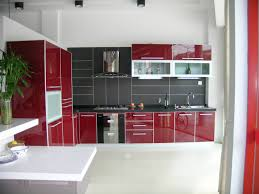Mixed Kitchen Cabinets Exellent Modern Kitchen Red Cabinets Design And Fixtures