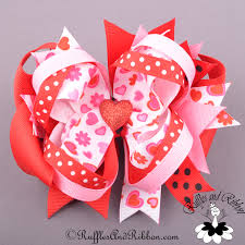 ribbon boutique large boutique hair bow valentines day hearts in bloom ott