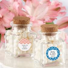 wedding favor jars square glass favor jar with cork stopper