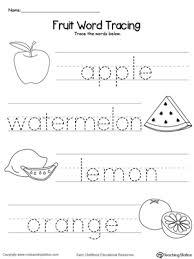 Free Printable Word Tracing Sheets | fruit word tracing myteachingstation com