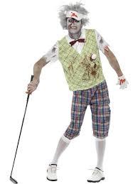 scary zombie golfer mens halloween fancy dress golf sports adults