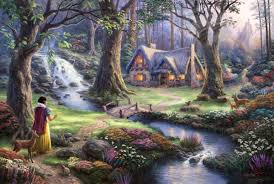 snow white discovers cottage thomas kinkade company