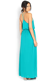 forever 21 show off t back maxi dress in green lyst