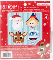 rudolph the nosed reindeer ornaments felt applique kit set of