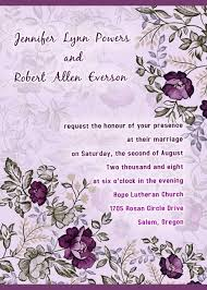 wedding card invitation purple floral printable wedding invitation cards cheap
