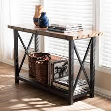 wood and iron sofa table baxton studio herzen vintage industrial medium brown wood console