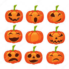 vector set of isolated pumpkin icons halloween design emotion