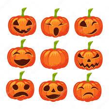 pumpkin invitation vector set of isolated pumpkin icons halloween design emotion