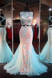 Light Blue Mermaid Dress Mermaid High Neck Open Back Light Blue Tulle Lace Two Piece Prom Dress