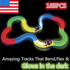 as seen on tv light up track magic fluorescent tracks glow in the dark led light up race car bend
