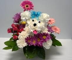 dog flower arrangement puppy dog companion in webster tx la mariposa flowers